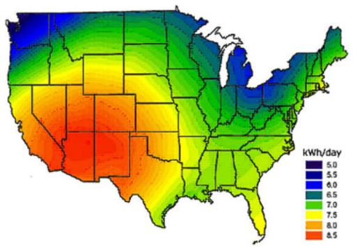 US Solar Hours Map